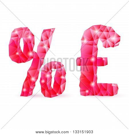 Shiny ruby polygonal font on white background. Crystal style per cent and pound sterling sign