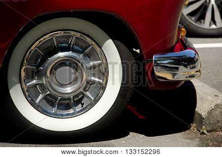 White Tire Of A Red Antque Car