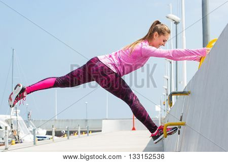 Slim Girl In Sporty Clothes Exercising In Seaport, Healthy Active Lifestyle