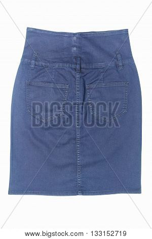 back side of of dark blue jean mini skirt isolated on white background