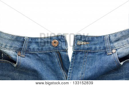 close up front view of unbuttoned blue jean isolated on white background