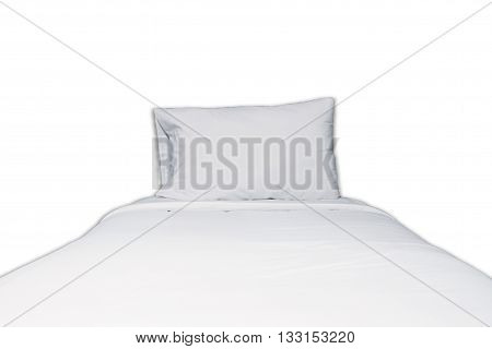 Close up white bedding and pillow on white background, stock photo