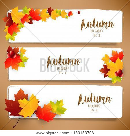 Illustration of Colorful autumn leaves of banners