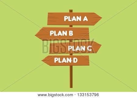 backup plan illustration with road sign plan a b c d as a option vector graphic illustration
