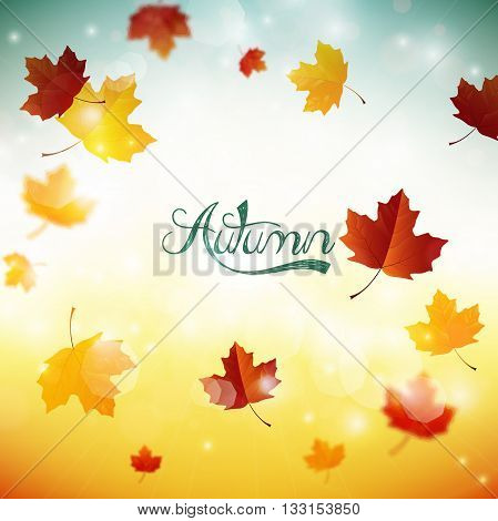 Illustration of Beautiful background with falling leaves
