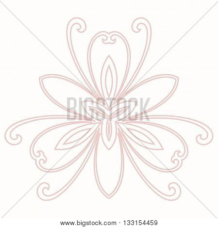 Floral vector pattern with fine arabesques. Abstract oriental ornament. Light pink pattern