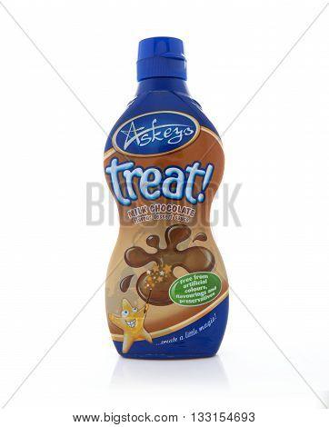 SWINDON UK - JUNE 3 2016: Bottle of Askeys Treat Desert Chocolate on a white background