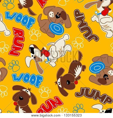Cute puppy dogs in a seamless pattern .