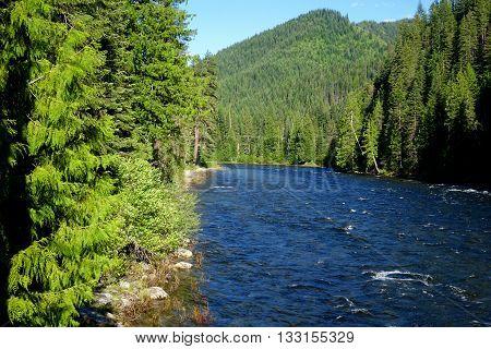 The Lochsa River flows through the wilderness in northern Idaho.