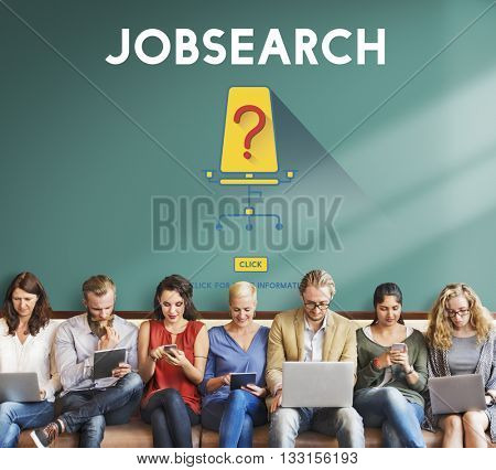 Job Search Occupation Recruitment We're Hiring Concept