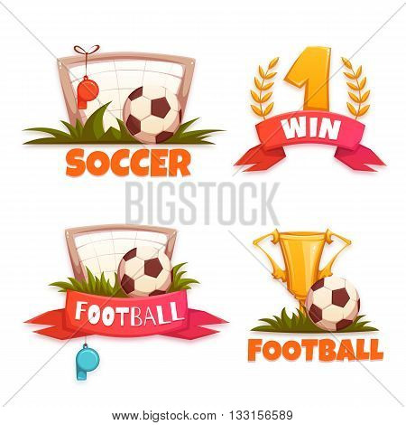 Football banner set with ball and goblet. Vector illustration.