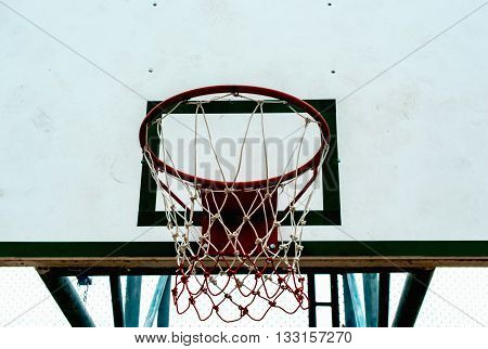 Basketball hoop on white background, front view