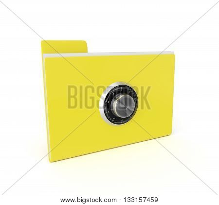 3d rendering safe folder isolated over white background. Data security concept.
