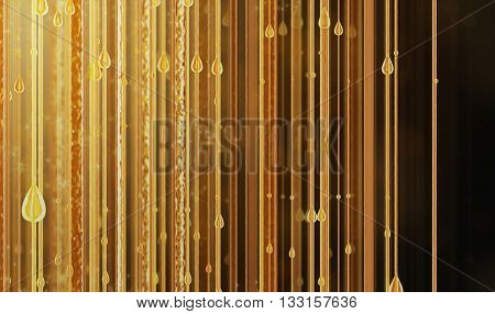 Yellow golden liquid pouring background 3D render image