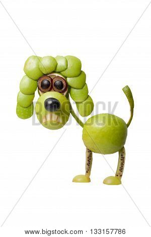Funny poodle made of green apple and grape