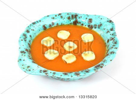 Tomato Bisque And Crackers Overhead View