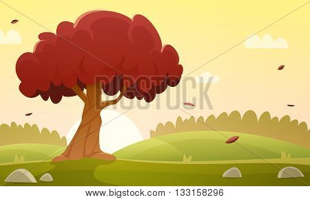 Sunset at meadow with tree, autumn countryside cartoon landscape illustration.