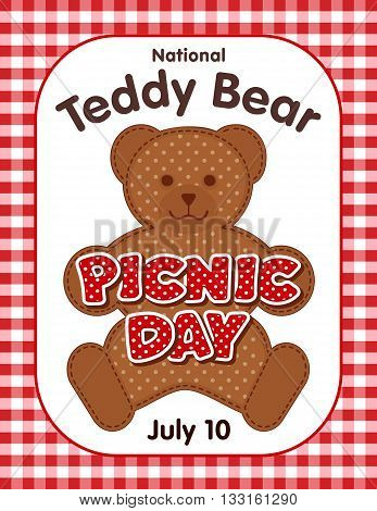 National Teddy Bear Picnic Day poster, annual holiday in USA on July 10, kids and their favorite stuffed toys have lunch outdoors, red polka dot text, gingham check background.