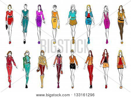 Colorful sketch silhouettes of young women wearing fashionable clothes. Fashion models presenting elegant office dresses and casual attires for everyday style. Shopping theme or fashion industry design