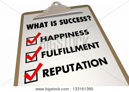 Success Checklist Happiness Fulfillment Words 3d Illustration