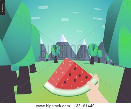 Watermelon, picnic in a forest, flat cartoon vector illustration - a piece of ripe watermelon in someones hand on the background of forest edge and mountains