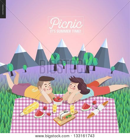 Young couple on picnic template - flat cartoon vector illustration of woman and man laying down on checkered plaid in landscape with mountains, trees and lilac sky on the background