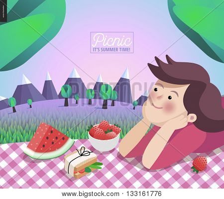 Girl on picnic - cartoon vector flat illustration of young woman laying on a checkered plaid with some snack - sandwich, watermelon, strawberry, with mountains, trees and lilac sky on background