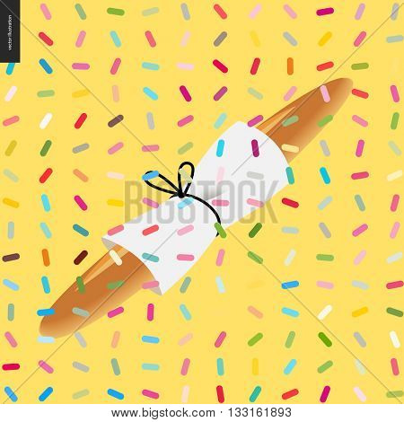 Baguette wrapped in papern with pack thread and a pattern - cartoon flat vector illustrated french bread, with twisted geometric colorful pattern of sprinkles above on the yellow background