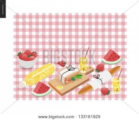 Picnic plaid and snack template - vector cartoon flat illustration of snack and drink for picnic on a checkered pink picnic plaid