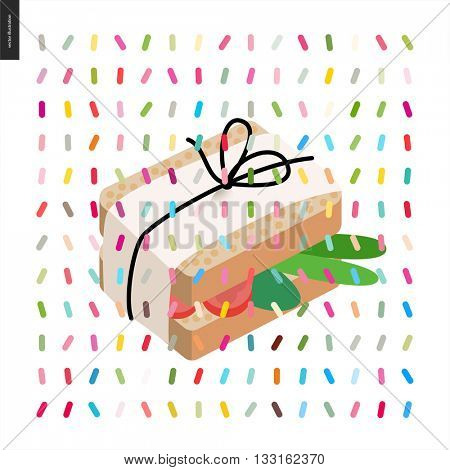 Wrapped sandwich in paper with pack thread and a pattern - cartoon flat vector illustrated sandwich, and twisted geometric colorful pattern of sprinkles above on white background