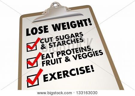 Lose Weight Checklist Clipboard Eat Exercise Words 3d Illustration