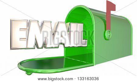 Email Mailbox Inbox Digital Online Message Word 3d Illustration