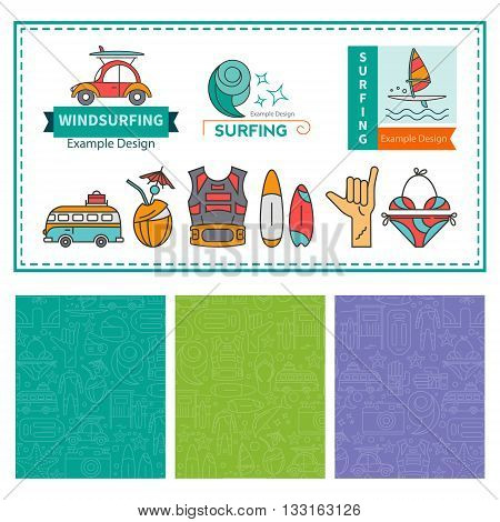 Vector Linear pattern design labels and badges Windsurfing sailing and seamless for packaging. Concept of an active summer holiday. Family holiday