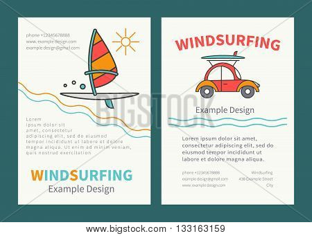 Set of design templates for brochures flyers Windsurfing. Concept of an active summer holiday. Family holiday