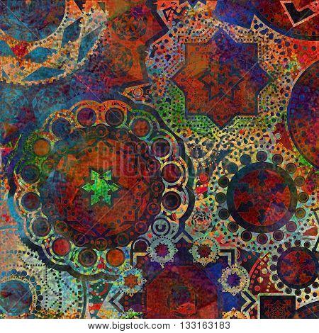 motley geometric pattern , shabby, textured background