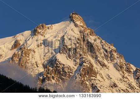Aiguille du midi at sunset from Chamonix. France