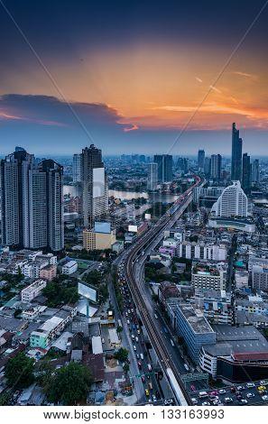 Sunset scene of Bangkok City of Thailand Twilight scene of Bangkok City of Thailand Bangkok City detination of tourist.