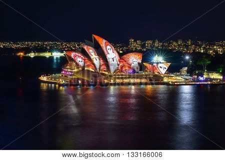 Sydney, Australia - June 6, 2016, Sydney Opera House Illuminated With Colourful Light Design Imagery