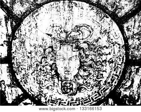 Distressed Cracked Paint Overlay Texture. Grunge style. Medusa illustration.