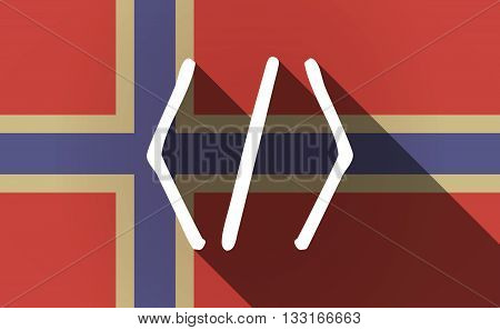 Long Shadow Norway Flag With A Code Sign