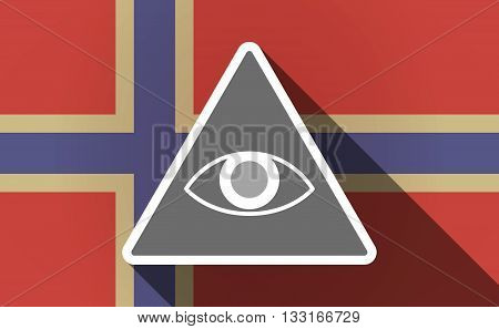 Long Shadow Norway Flag With An All Seeing Eye