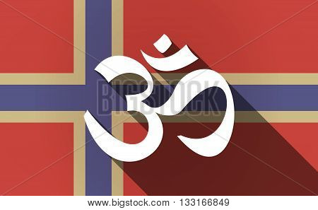 Long Shadow Norway Flag With An Om Sign