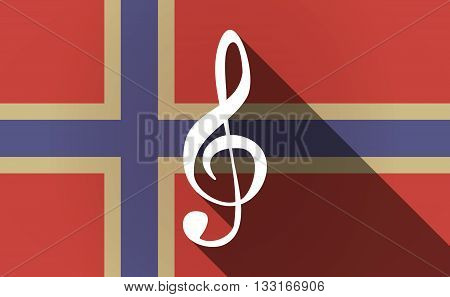 Long Shadow Norway Flag With A G Clef