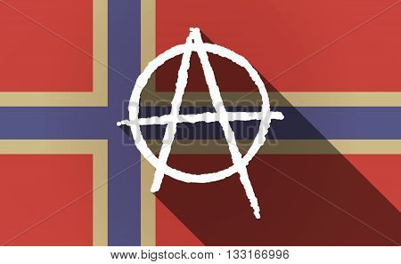 Long Shadow Norway Flag With An Anarchy Sign