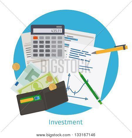 Smart investment concept. Finance planning, strategic management and data analytics. Vector illustration