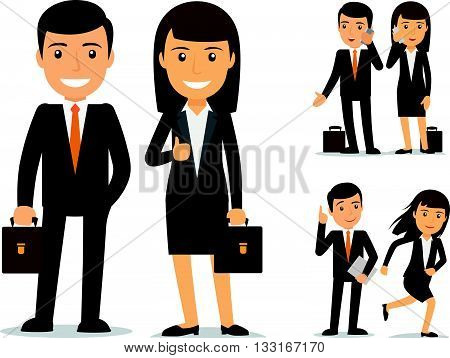 Business team. Businessman and business woman vector characters