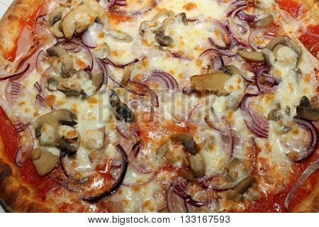 Fresh italian Pizza with Onion and Mushrooms