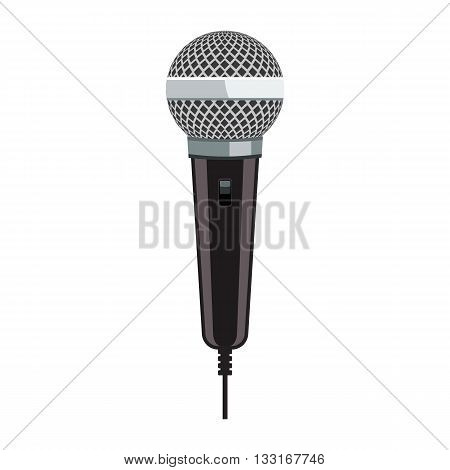 Microphone for Karaoke. Realistic microphone with flat color style design.