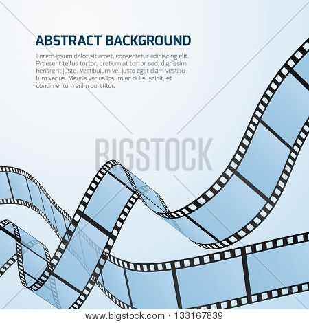 Film strip roll vector cinema background. Cinematography strip film background and wave stripe film illustration