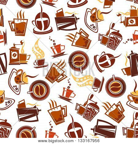 Retro coffee pots and manual grinders with steaming cups decorated by coffee beans seamless pattern in brown and yellow colors on white background. May be use as coffee shop menu backdrop or kitchen interior design